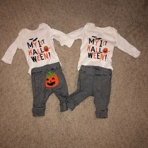 My First Halloween outfit with pumpkin bum detail